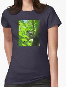 Cute baby bird on branch Womens Fitted T-Shirt