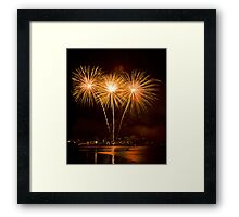 We Three Palms - Sydney Harbour - New Years Eve - Midnight Fireworks  Framed Print