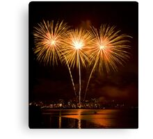 We Three Palms - Sydney Harbour - New Years Eve - Midnight Fireworks  Canvas Print