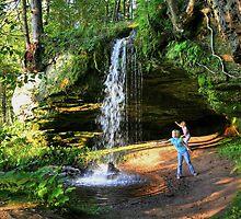 Girls and waterfall by tanmari