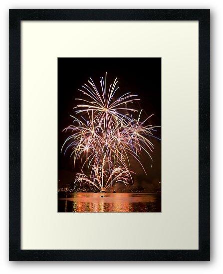 Sydney Harbour - New Years Eve - Midnight Fireworks  by Bryan Freeman