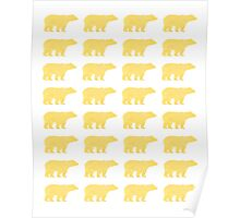 Gold Bears - foil glitter sparkle gold pattern print bear golf golfing nature trendy hipster sports Poster