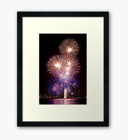 The First Bang - Sydney Harbour - New Years Eve - Midnight Fireworks Framed Print