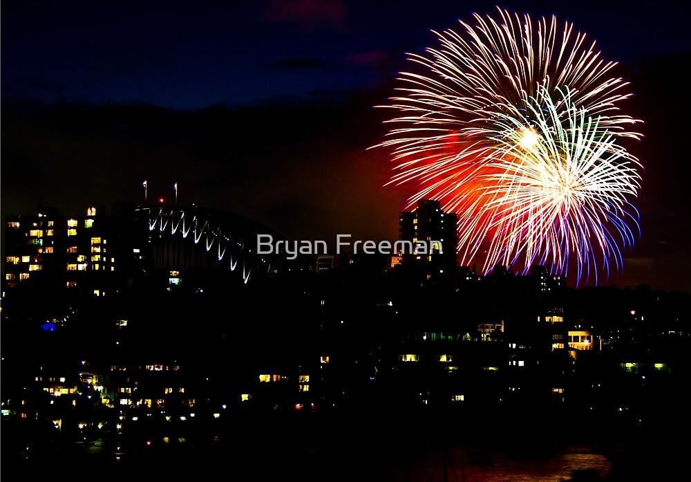 Sydney Harbour Fireworks - New Years Eve  by Bryan Freeman