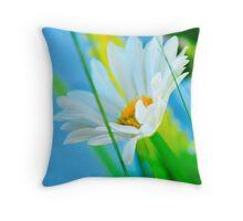 White Flower Ornament Throw Pillow