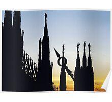 Duomo di Milano - main cathedral of Milan. Roof detail at sunset. Lombardia, Italy Poster