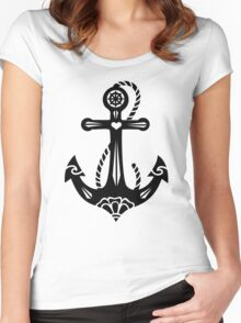 Anchor & Sacred Rose, Symbol Hope, Faith & Love Women's Fitted Scoop T-Shirt