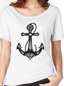 Anchor & Sacred Rose, Symbol Hope, Faith & Love Women's Relaxed Fit T-Shirt