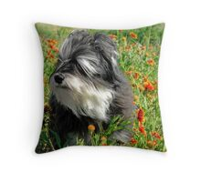 Cloey in the Flowers II Throw Pillow