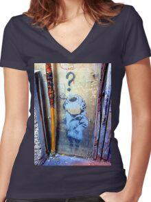 Banksy's Lil Diver Melbourne T-shirt Women's Fitted V-Neck T-Shirt
