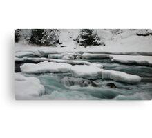 Icy river, Bow river falls, Banff, Canada Canvas Print