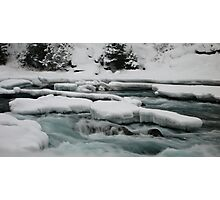 Icy river, Bow river falls, Banff, Canada Photographic Print
