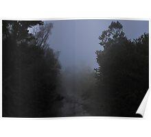 Foggy Blue River Scene Poster