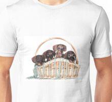 Four dachshund puppy in a basket Unisex T-Shirt
