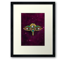 Buddha eyes, symbol wisdom & enlightenment, Framed Print
