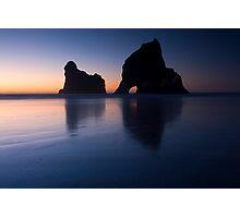 Sunset at Wharariki Beach Photographic Print