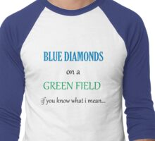Blue Diamonds on a Green Field- Wicked Men's Baseball ¾ T-Shirt