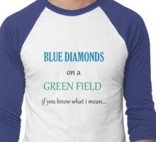 Blue Diamonds on a Green Field- Wicked Men's Baseball ¾ T-Shirt