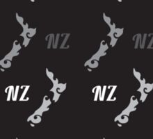 NZ New Zealand map on black pattern Sticker