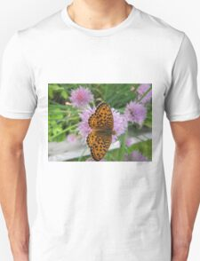 Butterfly on chive flower Unisex T-Shirt