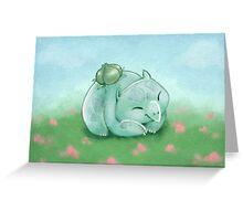 Snoozing Bulbasaur Greeting Card