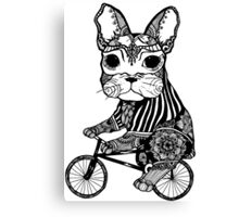 Funny Big Mouse Rat on a Bicycle  Canvas Print