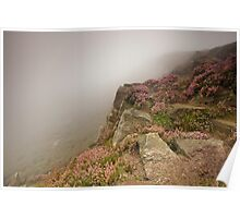 Stanage Edge heather and fog Poster