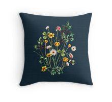 MeadowSweet Autumn on Rustic Blue Throw Pillow