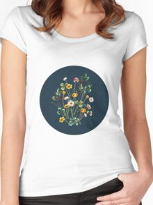 MeadowSweet Autumn on Rustic Blue Women's Fitted Scoop T-Shirt