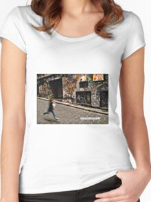 Alleyway, Melbourne Comicography Women's Fitted Scoop T-Shirt