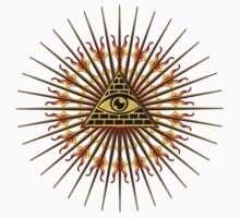 All Seeing Eye Of God, Flames - Symbol Omniscience Kids Clothes