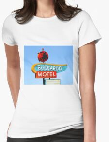 Buckaroo Motel Sign, Tucumcari, New Mexico  Womens Fitted T-Shirt