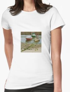Fishing Boats in Mousehole Harbour, Cornwall Womens Fitted T-Shirt