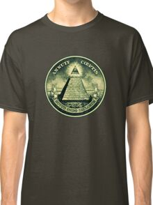 All seeing eye, pyramid, dollar, freemason, god Classic T-Shirt