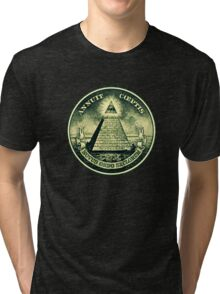 All seeing eye, pyramid, dollar, freemason, god Tri-blend T-Shirt