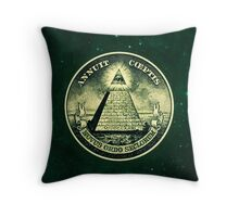 All seeing eye, pyramid, dollar, freemason, god Throw Pillow