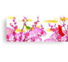 February Hanafuda - Plum Blossoms Canvas Print