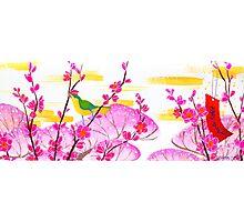February Hanafuda - Plum Blossoms Photographic Print