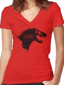 Jurassic is Coming Women's Fitted V-Neck T-Shirt