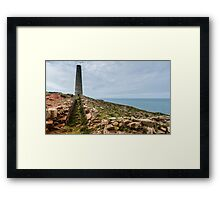 Levant Tin Mine Chimney Ruins, Cornwall Framed Print