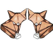origami fox couple in love by daleymilk