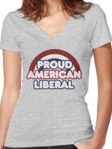 Proud american liberal Women's Fitted V-Neck T-Shirt
