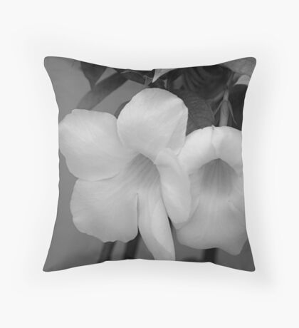 Unknown flower in black and white Throw Pillow