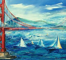 San Francisco golden gate bridge sailing day by schiabor