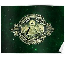All seeing eye, pyramid, dollar, freemason, god Poster