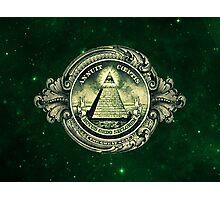 All seeing eye, pyramid, dollar, freemason, god Photographic Print