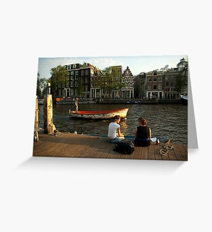 Two young women and a boatman Greeting Card
