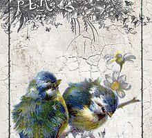Vintage Birds Crackle Grunge by angelandspot