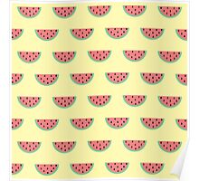 Cute Little Watermelon Pattern on Summer Yellow Poster