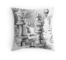 The Chess People Drawing Throw Pillow